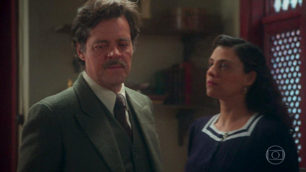 Eugênio avisa a Maristela que ela está proibida de ver Danilo