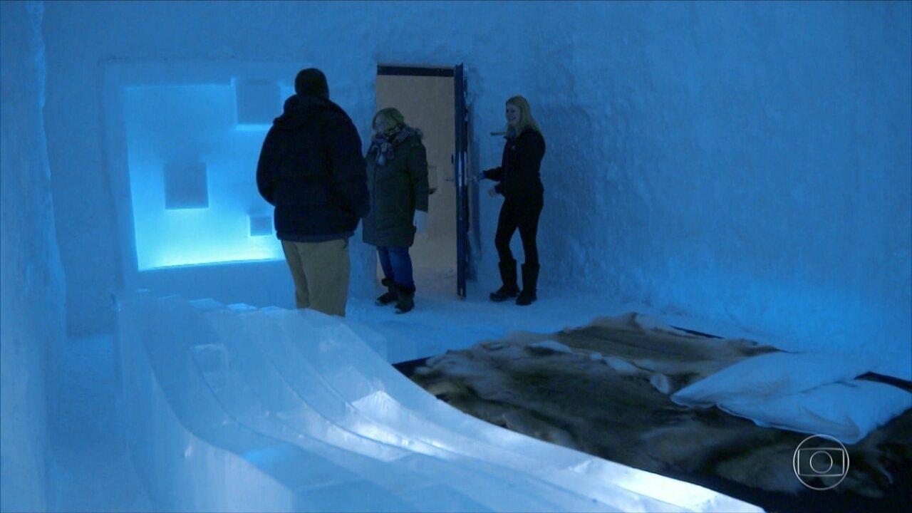 Hotel de gelo tem diárias de até R$ 5 mil e temperatura que chega a -30ºC