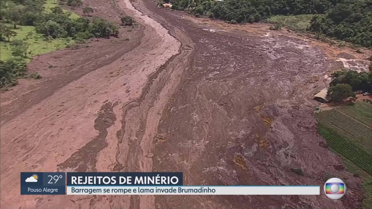Barragem de rompe e lama invade Brumadinho