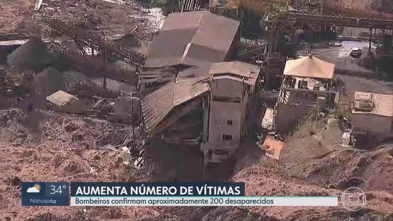 Bombeiros confirmam 200 desaparecidos em rompimento de barragem de Brumadinho
