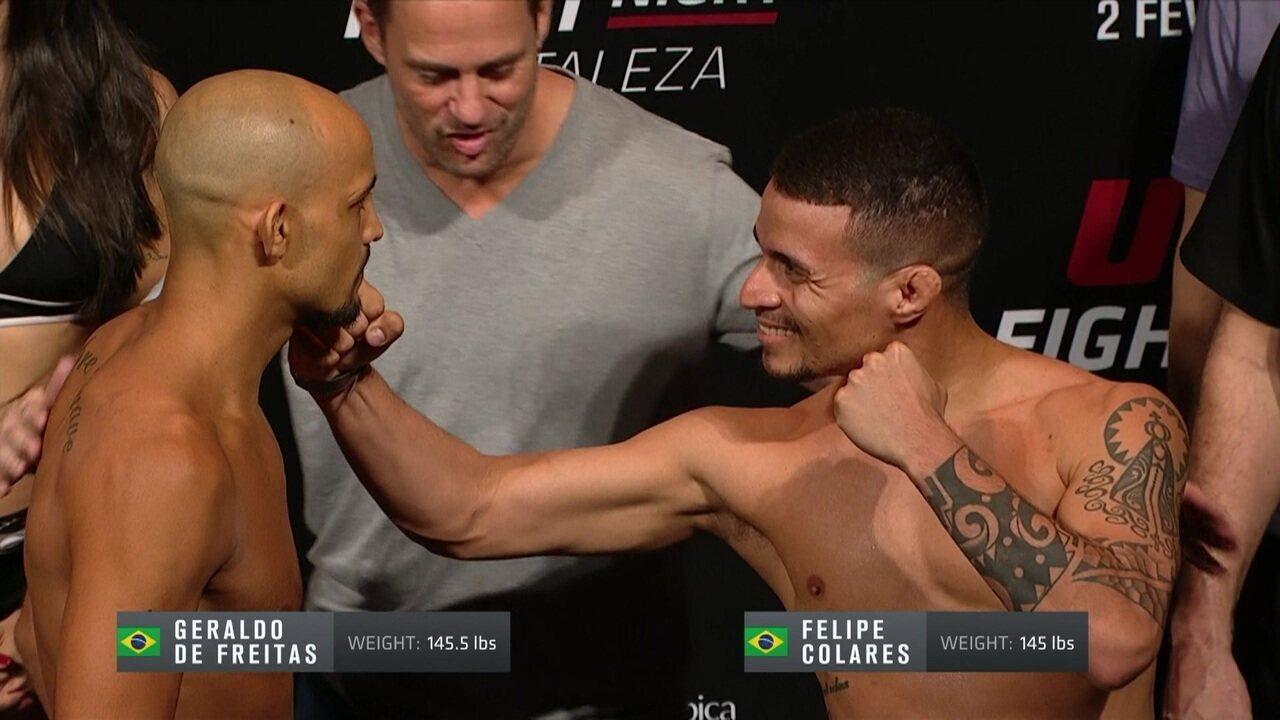 Felipe Colares e Geraldo de Freitas passam pela pesagem do UFC Fortaleza