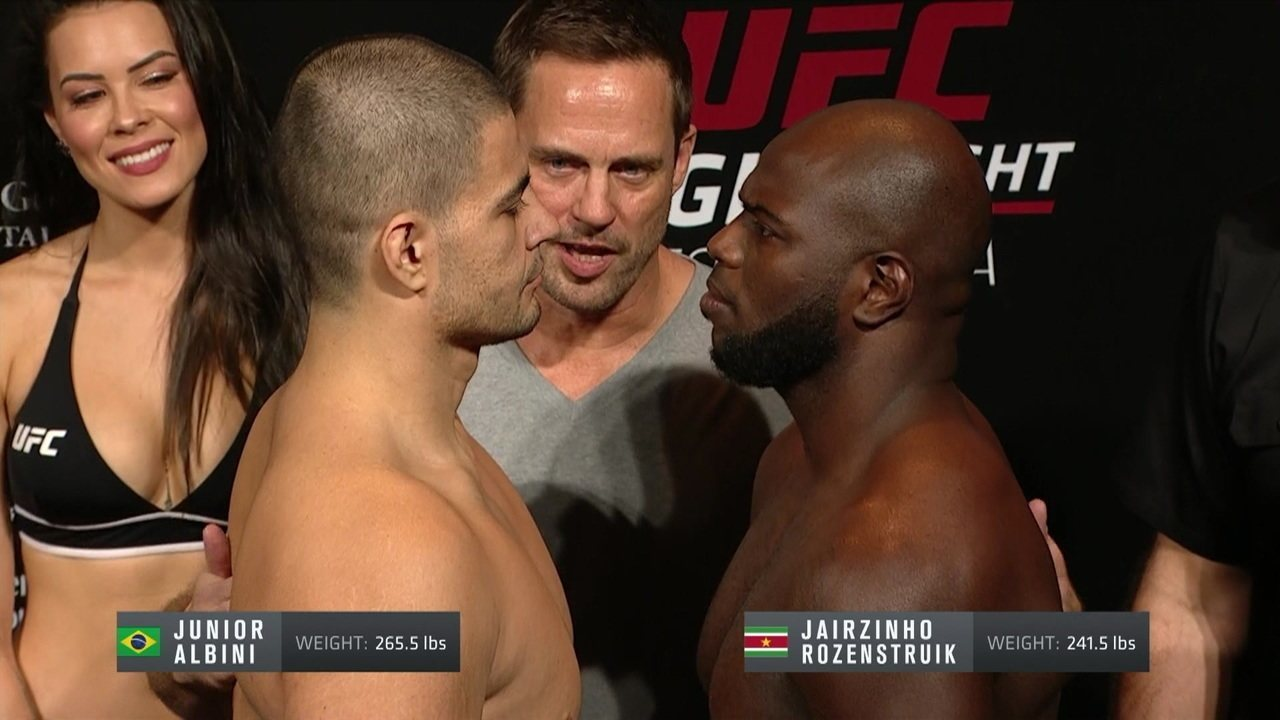 Jairzinho Rozenstruik e Junior Albini passam pela pesagem do UFC Fortaleza