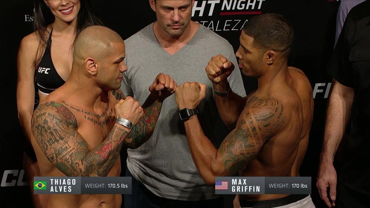 Max Griffin e Thiago Alves passam pela pesagem do UFC Fortaleza