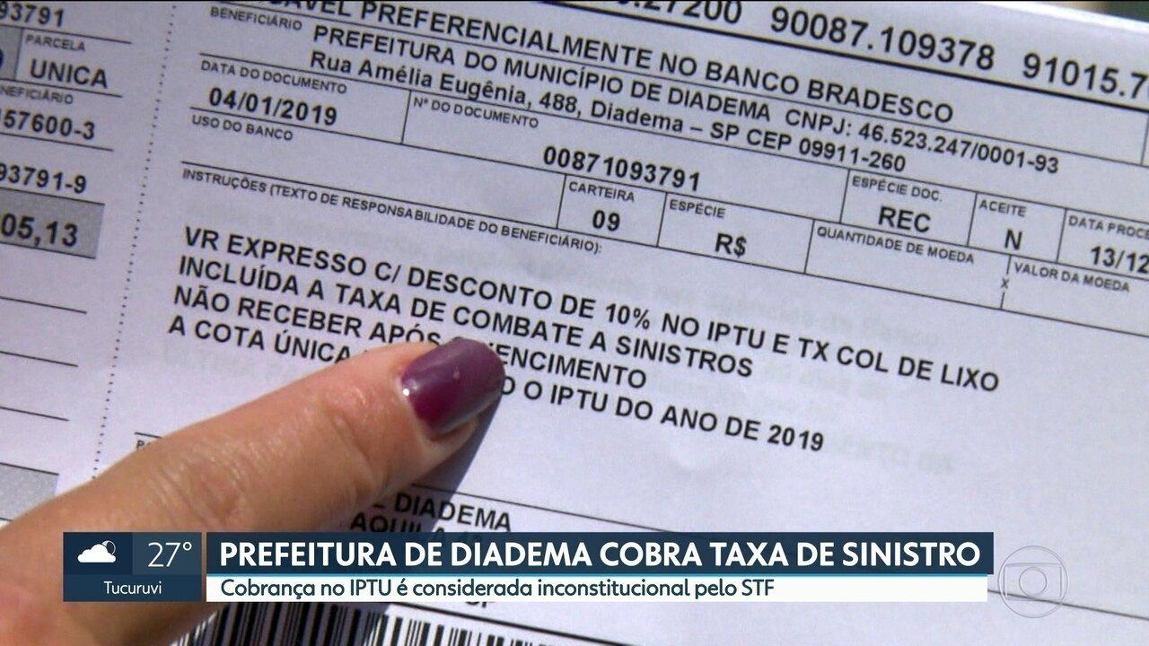 Prefeitura de Diadema cobra taxa de sinistro no IPTU