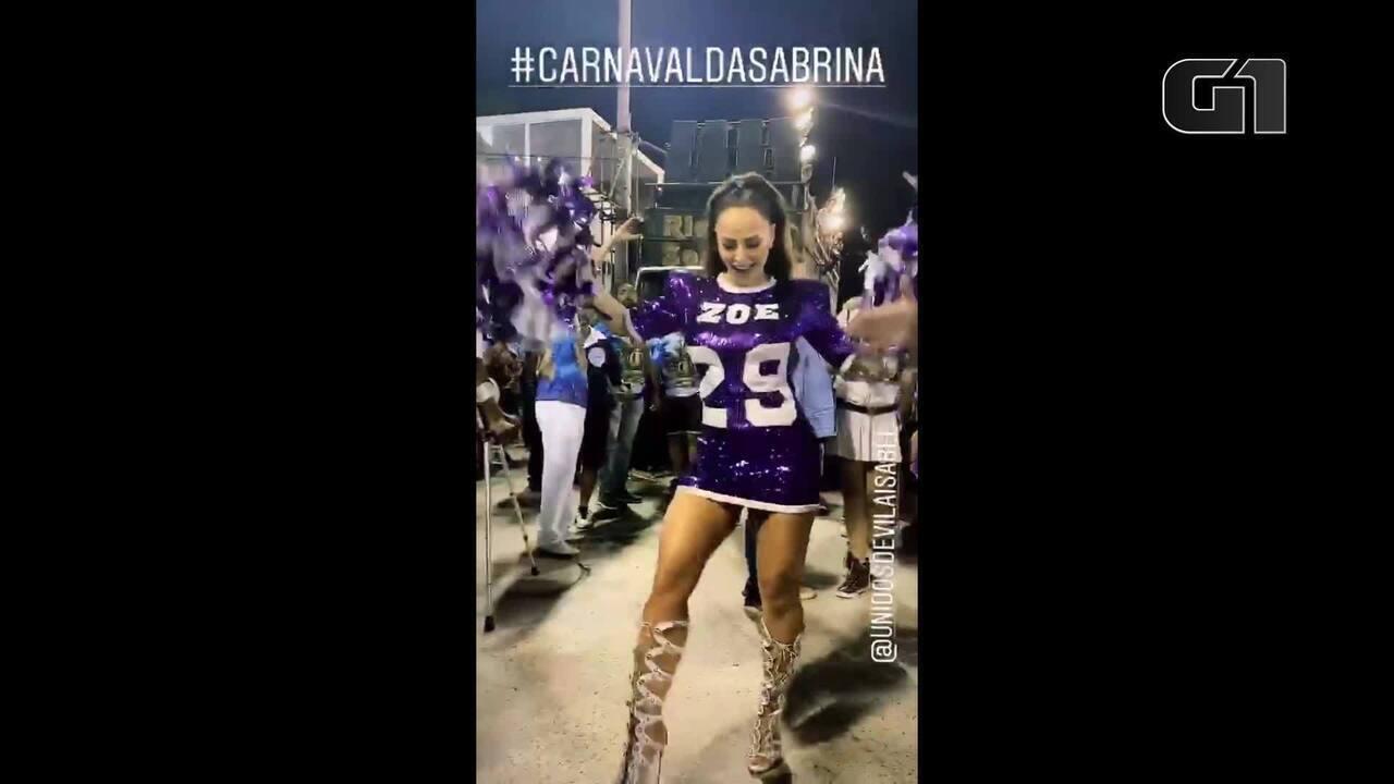 Sabrina Sato mostra muito samba no pé em ensaio técnico da Vila Isabel