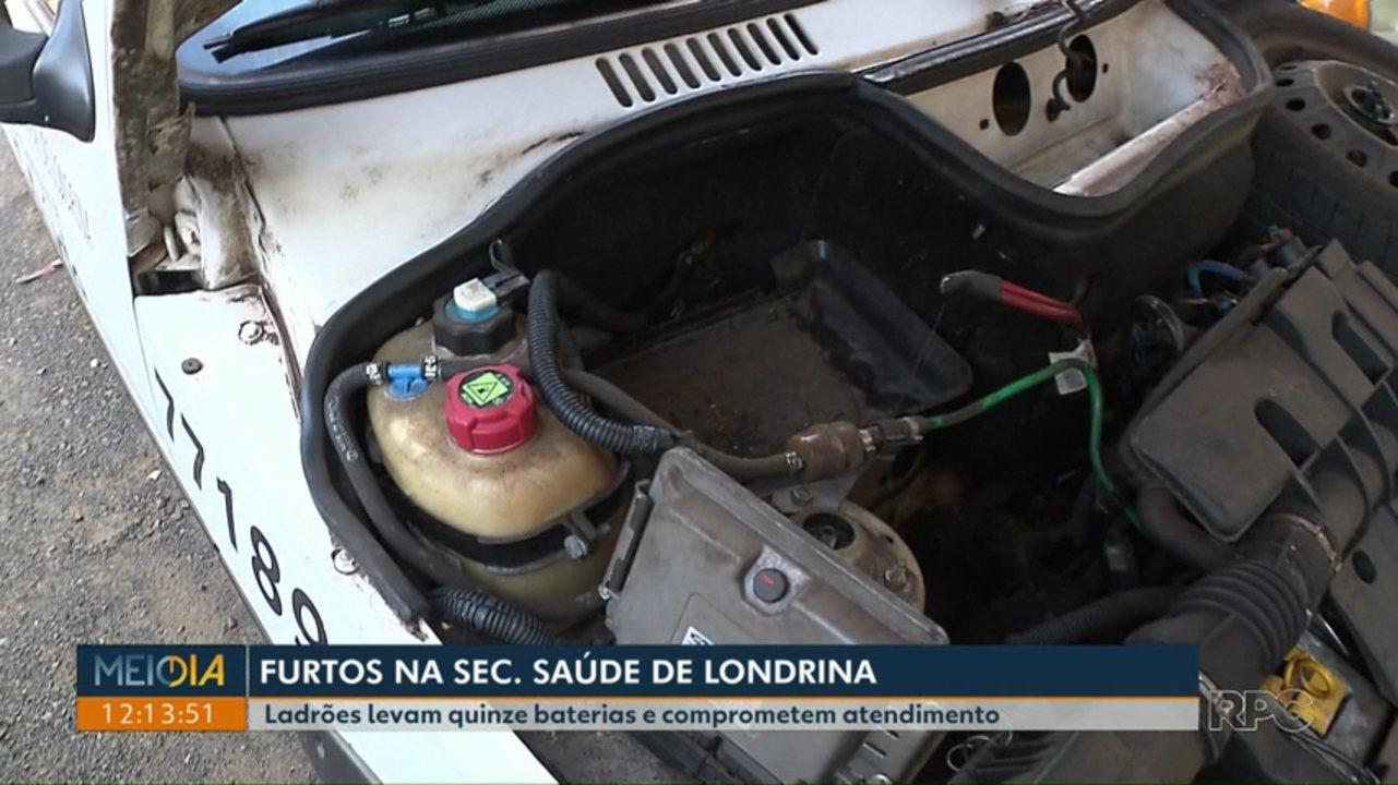 Bandidos roubam baterias de 15 veículos da Secretaria Municipal da Saúde