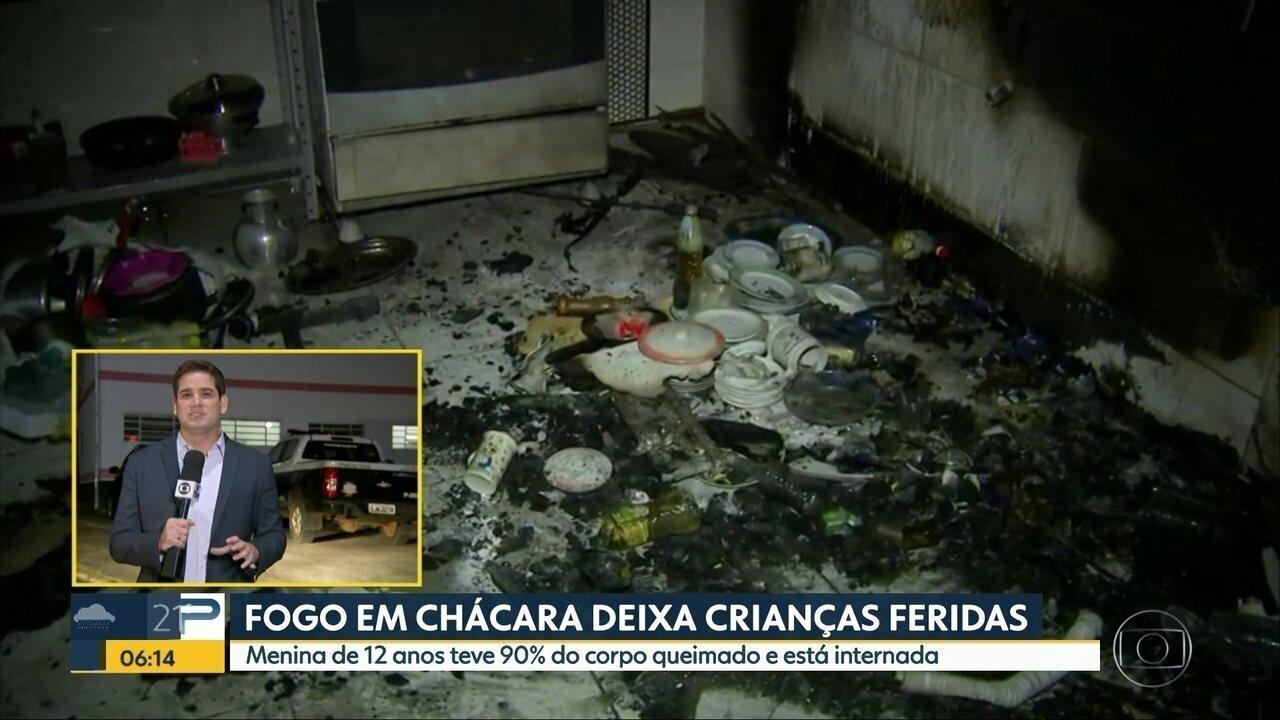 Crianças são feridas depois de incêndio em chácara de Boituva