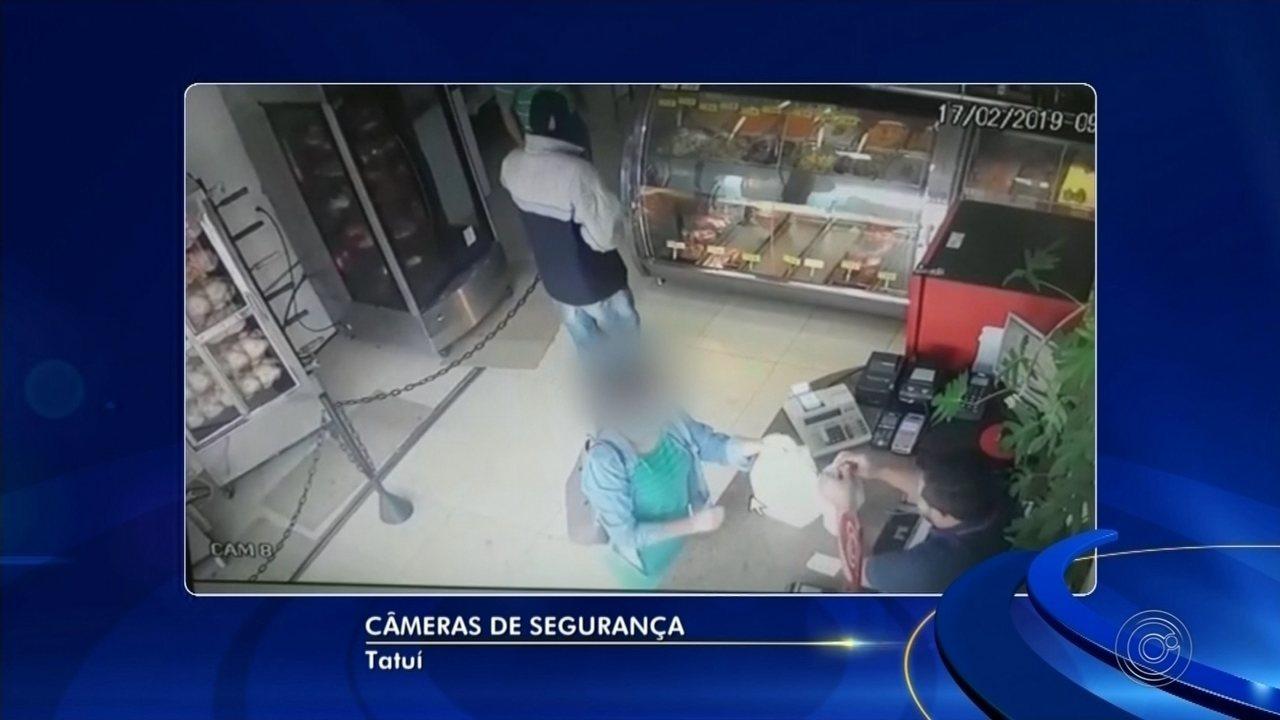 Câmeras de segurança registram assalto em açougue na área central de Tatuí