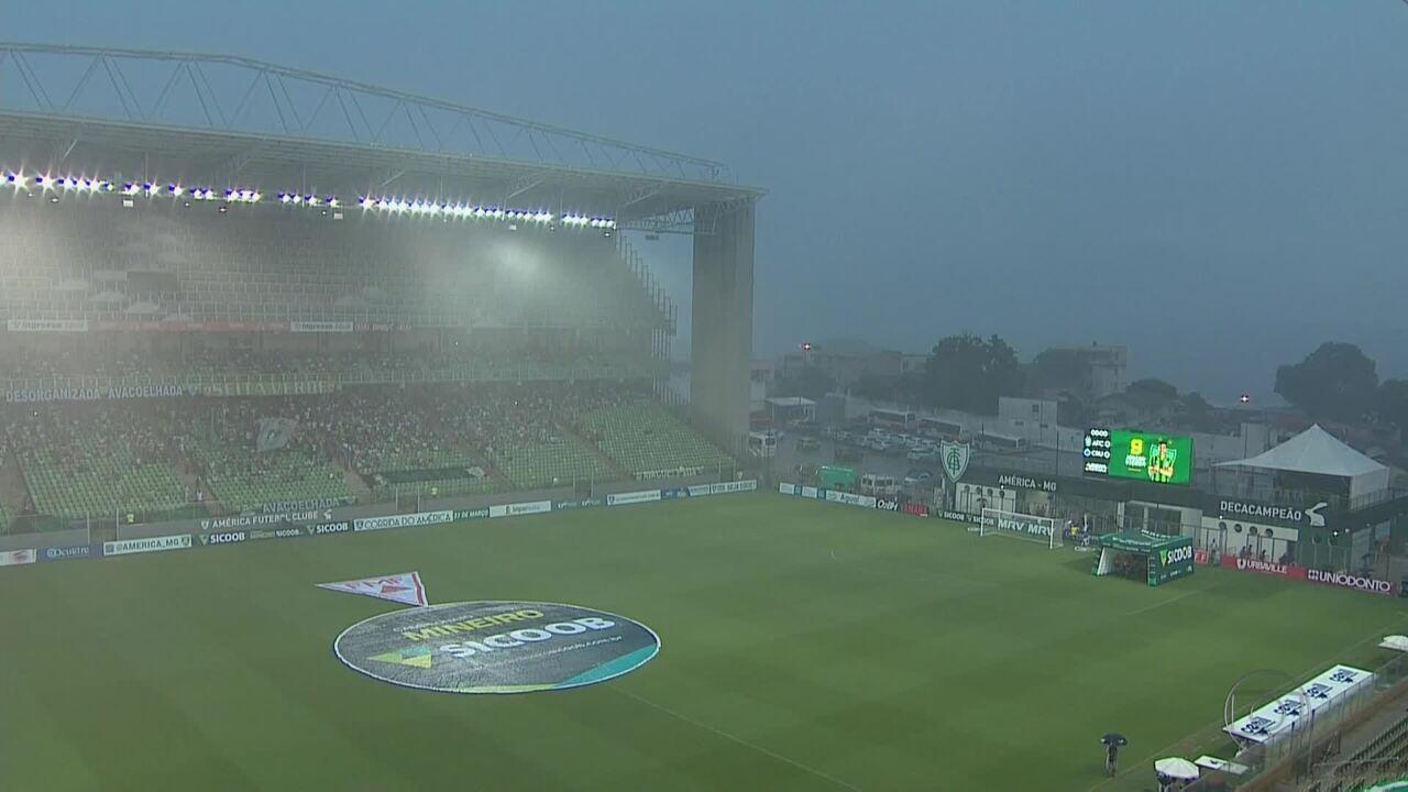 Debaixo de muita chuva e com atraso, América-MG e Cruzeiro empatam por 0 a 0