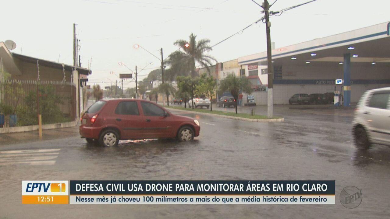 Defesa Civil usa drone para monitorar áreas com risco de alagamento em Rio Claro