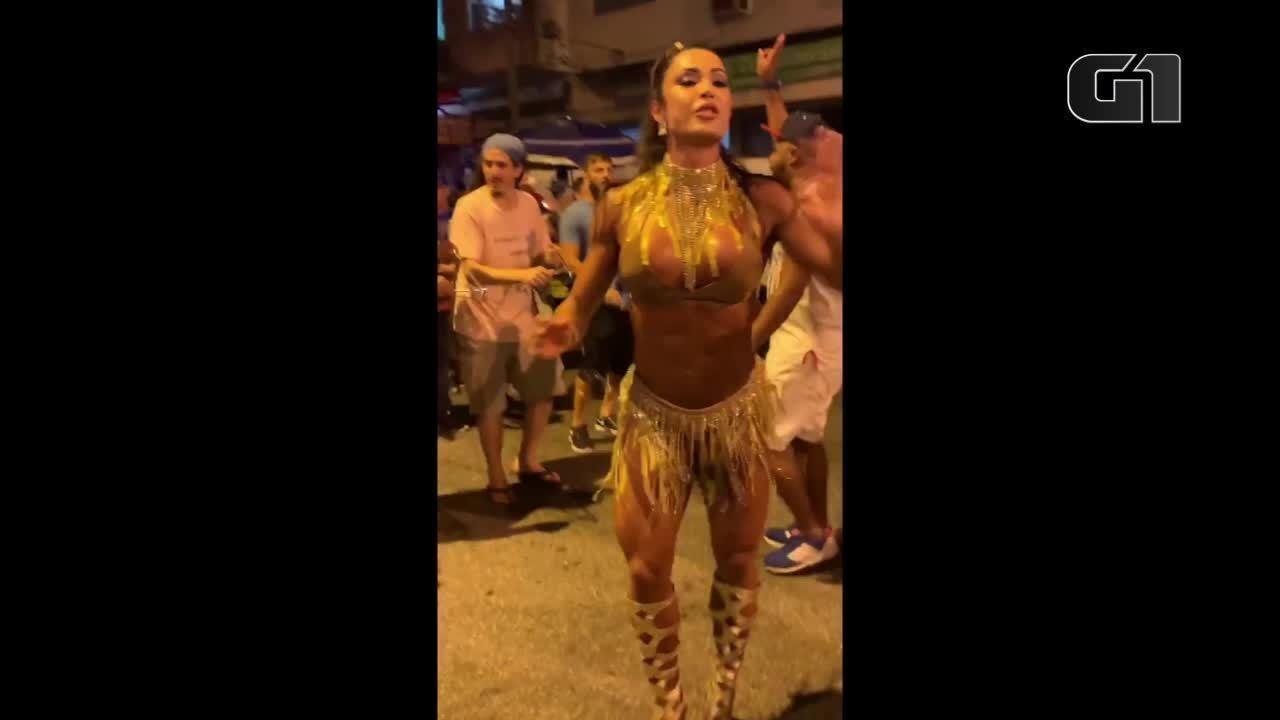 Gracyanne Barbosa ensaia com União da Ilha e entra em campanha contra assedio