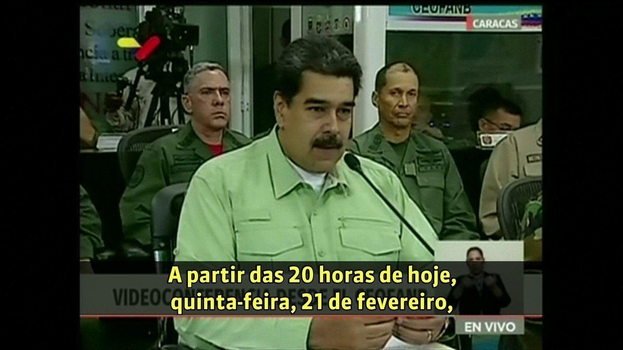 Nicolás Maduro anuncia que vai fechar fronteira terrestre entre Brasil e Venzuela