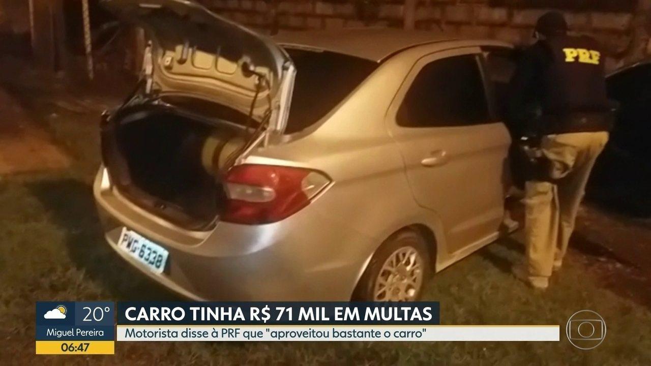 PRF apreende carro com R$ 71 mil em multas vencidas