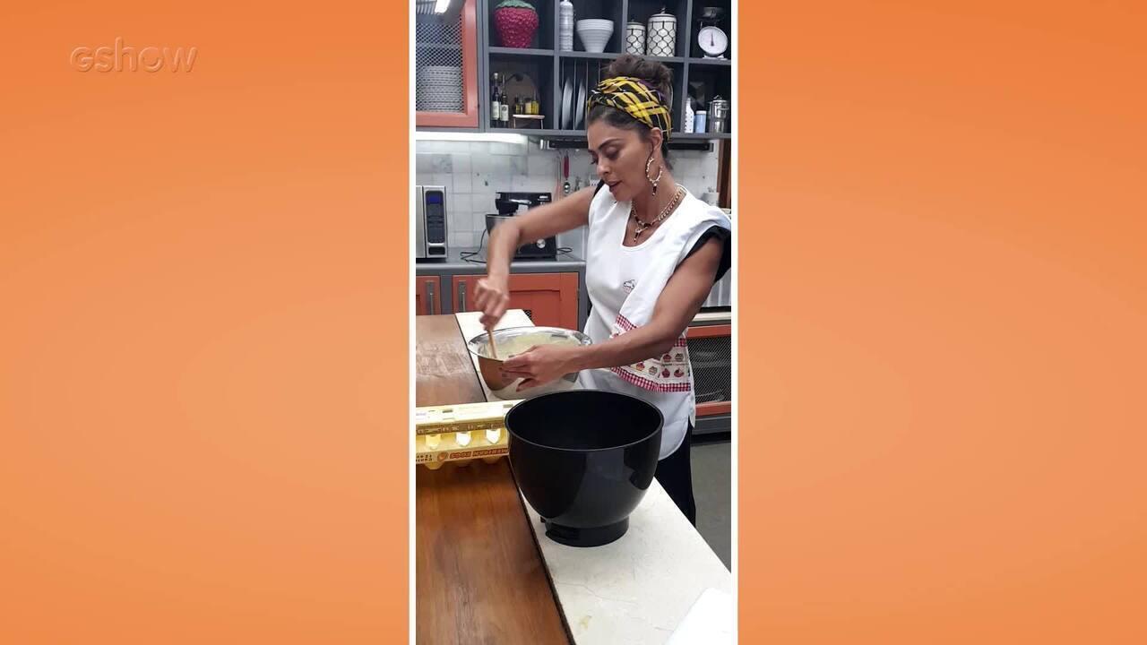 Juliana Paes em seu intensivão culinário para viver Maria da Paz em 'A Dona do Pedaço'