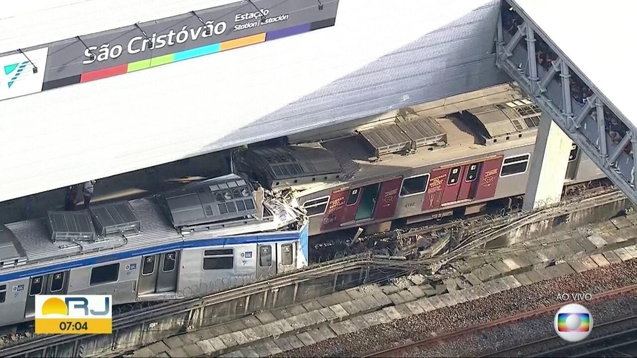 Acidente entre 2 trens deixa linha São Cristóvão inoperante
