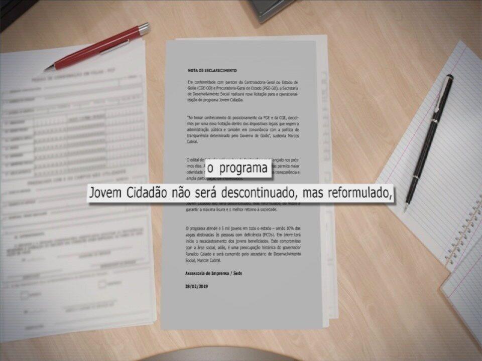 Governo de Goiás anuncia fim de contrato com instituição que administra o Jovem Cidadão