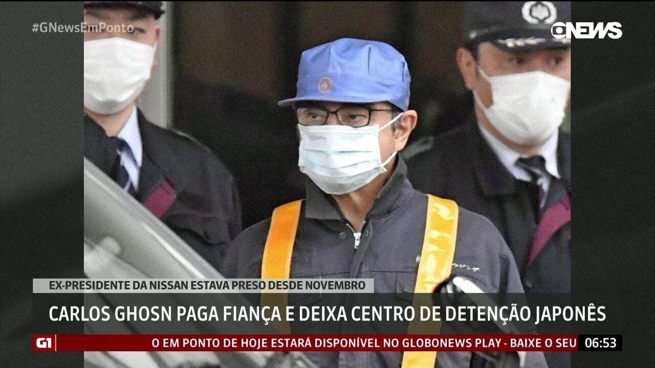 Carlos Ghosn paga fiança e deixa centro de detenção japonês
