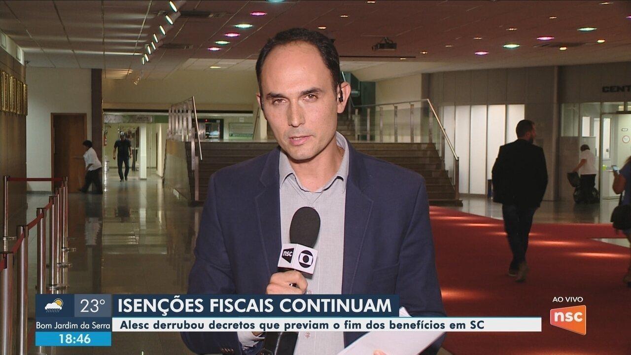 Alesc suspende até julho efeitos de decretos que previam fim de benefícios fiscais