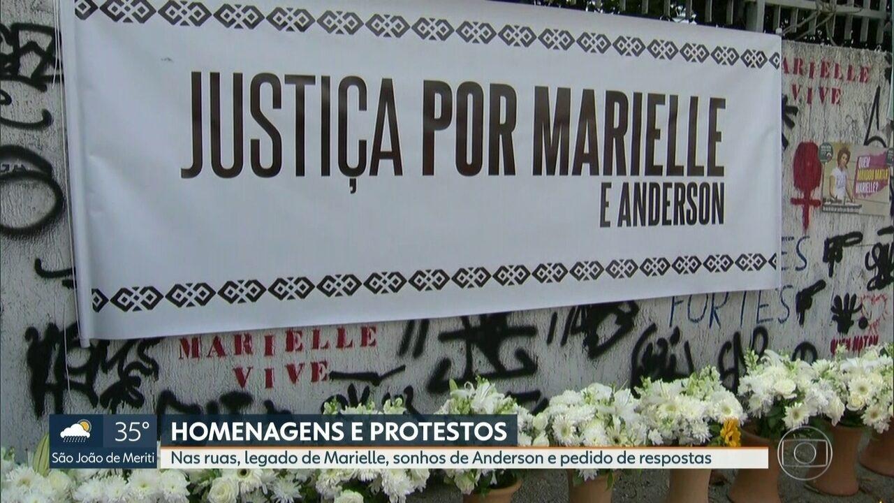 Protestos e homenagens marcam um ano do assassinato de Anderson e Marielle