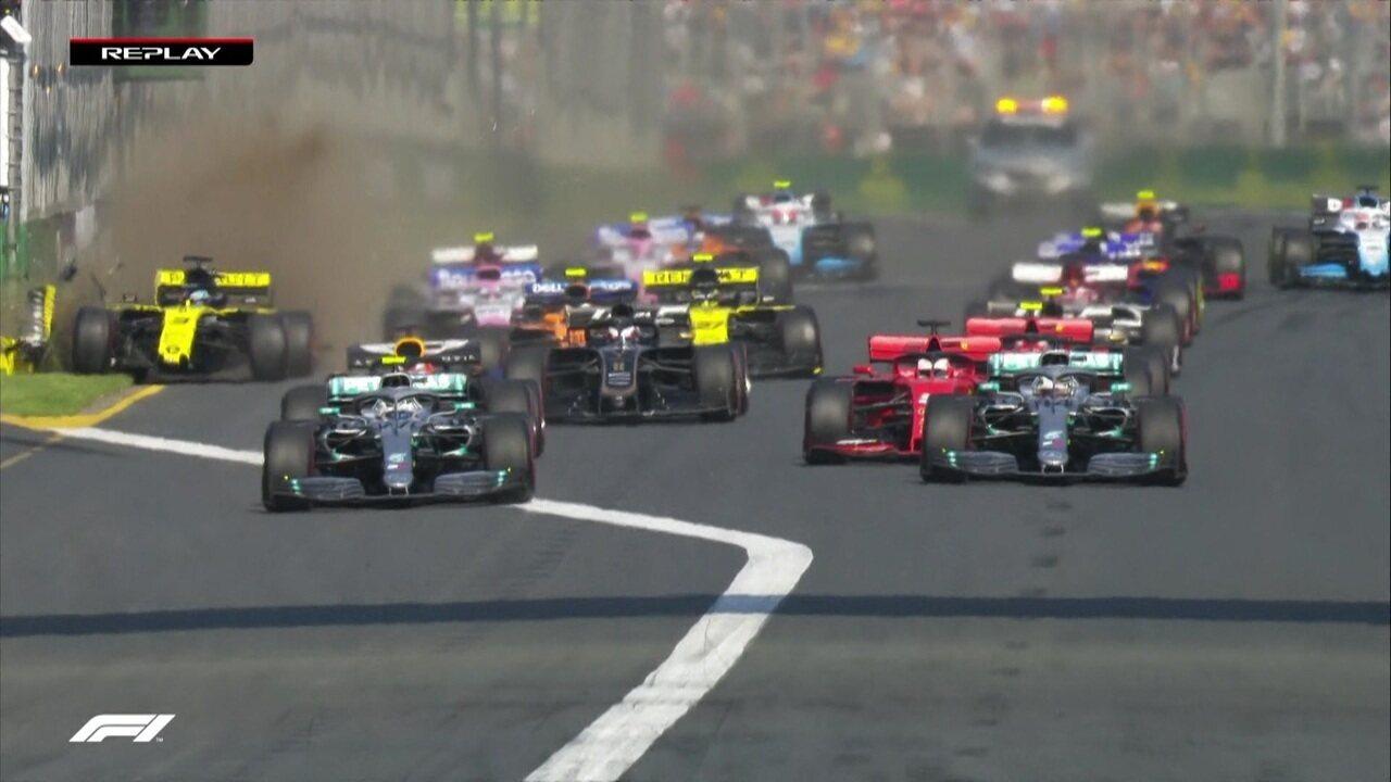 Replay da largada mostra ultrapassagem de Bottas e acidente de Ricciardo