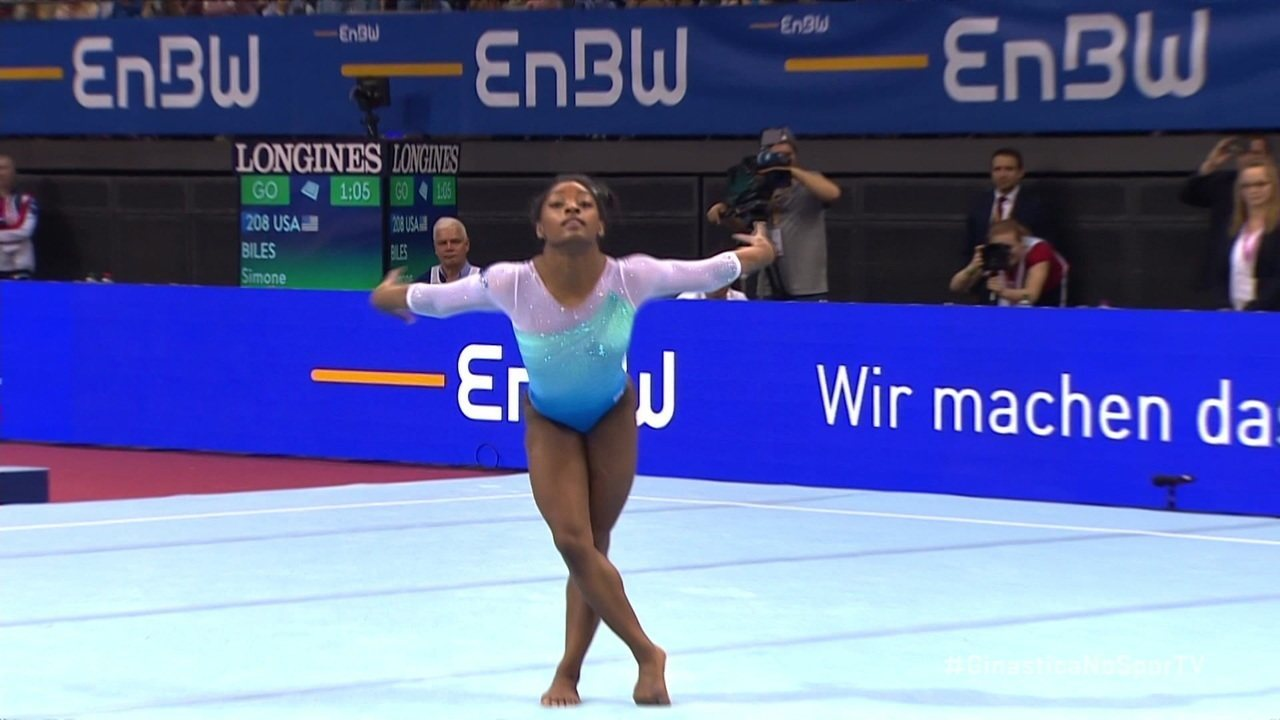 Confira a apresentação do solo de Simone Biles na Copa do Mundo, em Stuttgart, na Alemanha