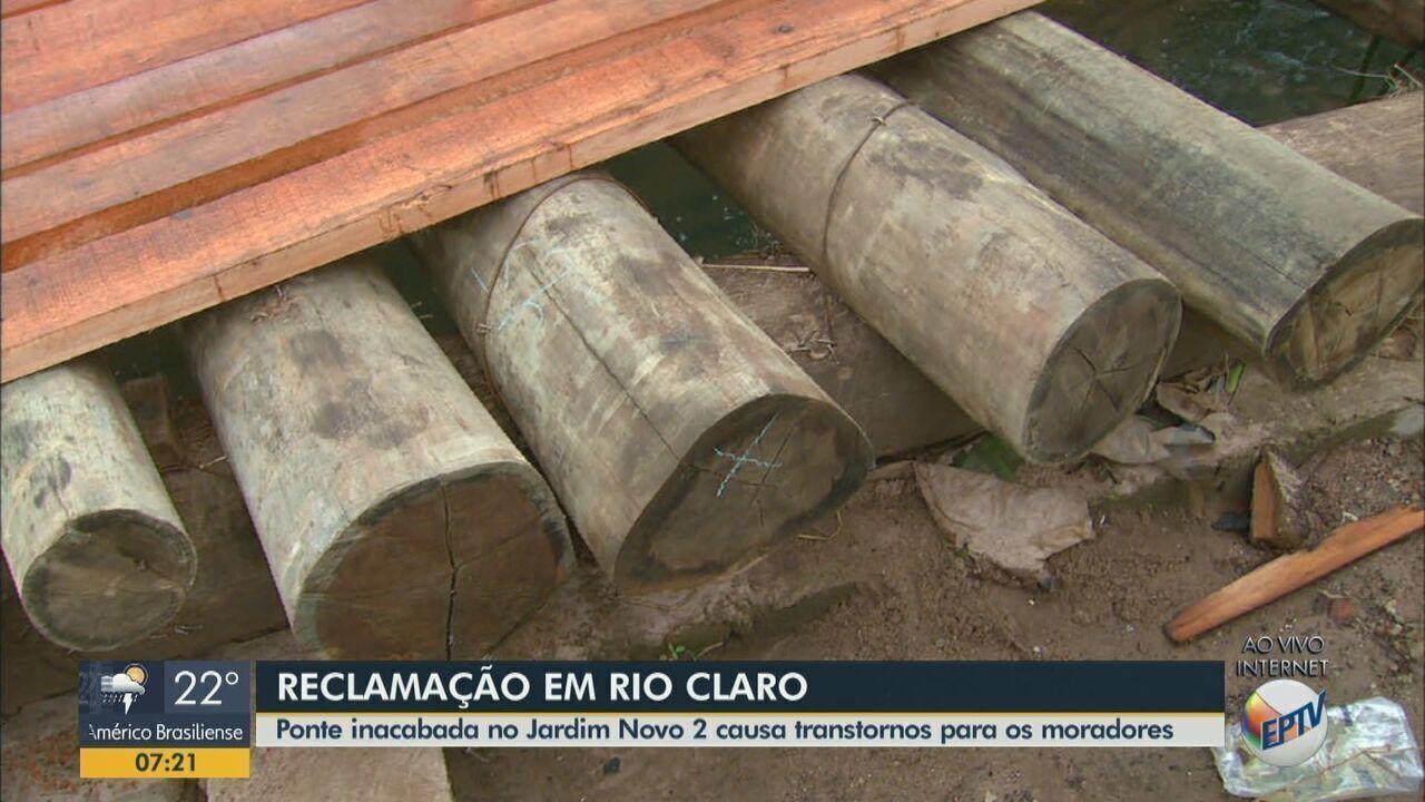 Ponte inacabada em Rio Claro gera queixas de moradores