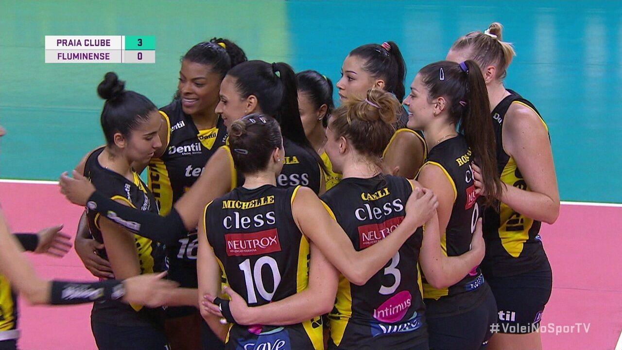 Melhores momentos: Praia Clube 3 x 0 Fluminense pelas quartas de final da Superliga Feminina de Vôlei
