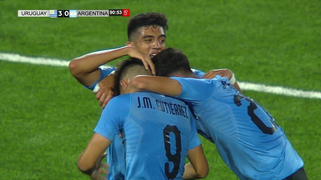 Os gols de Uruguai 3 x 0 Argentina pelo Sul-Americano Sub-17 2019