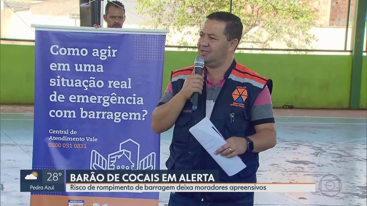 Nível de risco de rompimento de barragem, em Barão de Cocais, aumenta