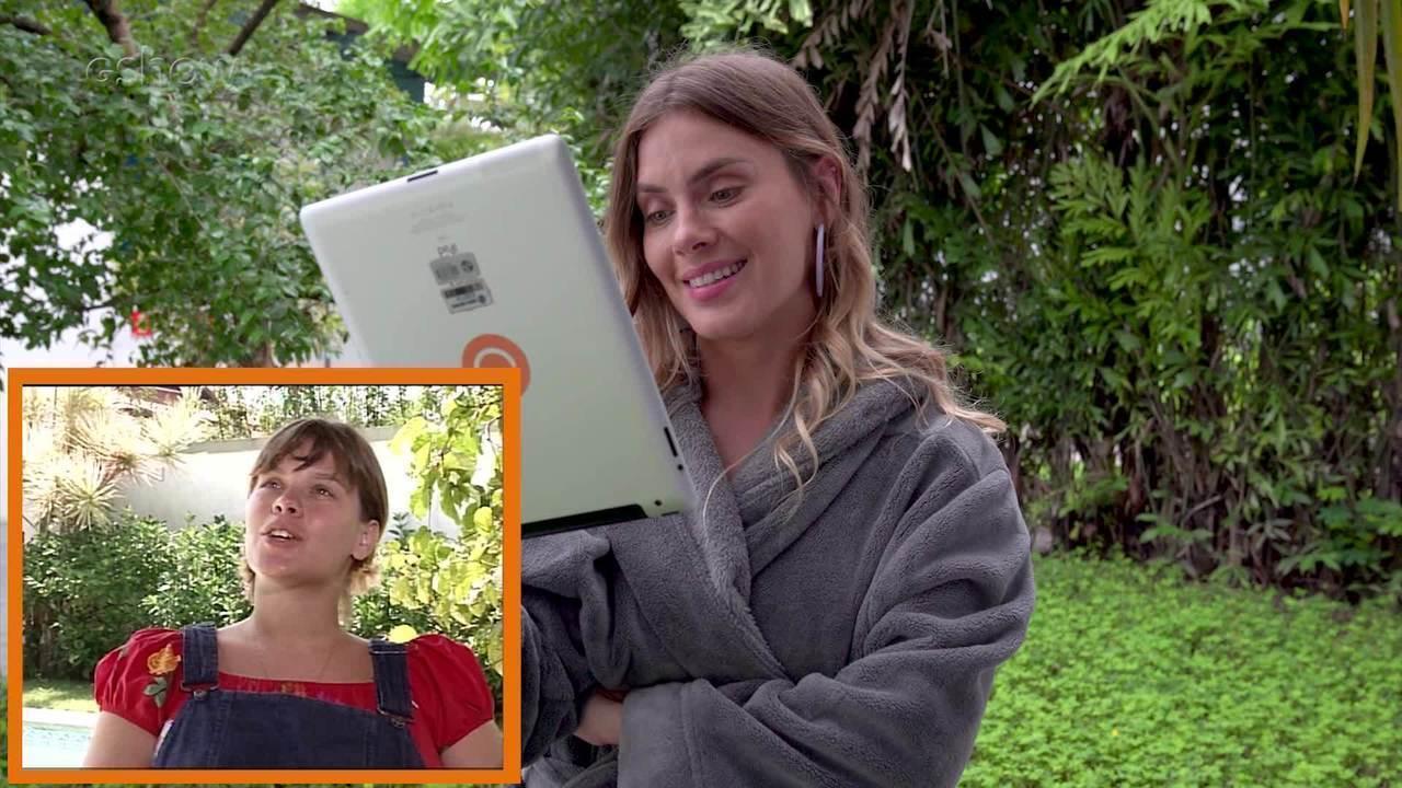 Carolina Dieckmann revê matéria exibida há 20 anos e parabeniza o filho Davi