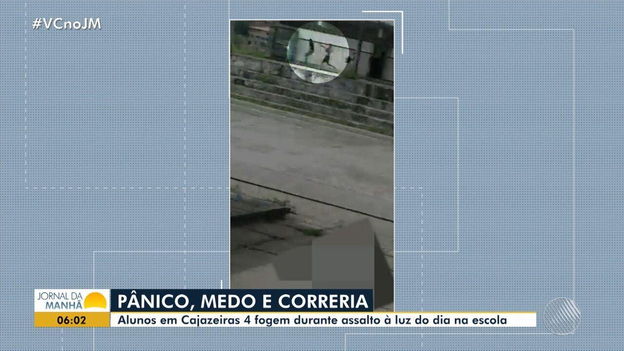 Flagrante: bandidos assaltam escola em plena luz do dia em Cajazeiras