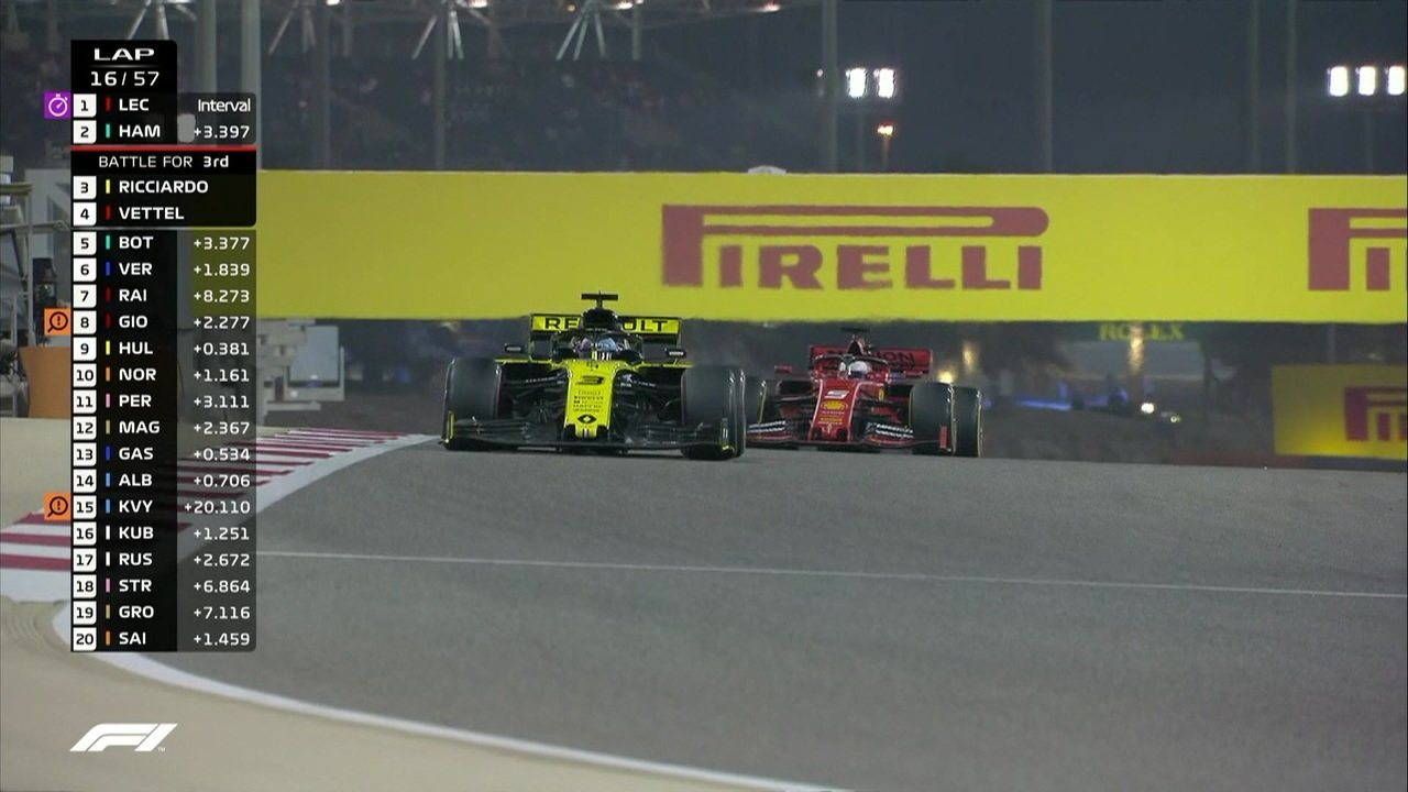 Vettel ultrapassa Ricciardo no GP do Barein