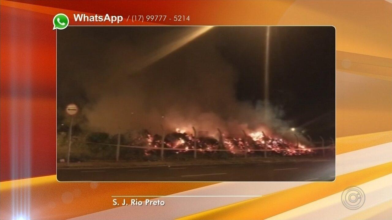 Ponto de apoio pega fogo no bairro Jardim Conceição em Rio Preto