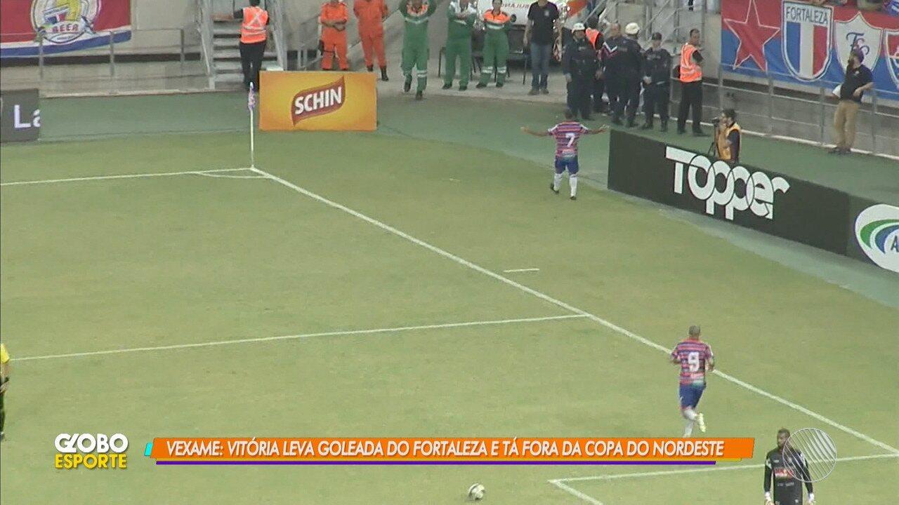 Vitória toma goleada de 4 a 0 do Fortaleza e é eliminado da Copa do Nordeste