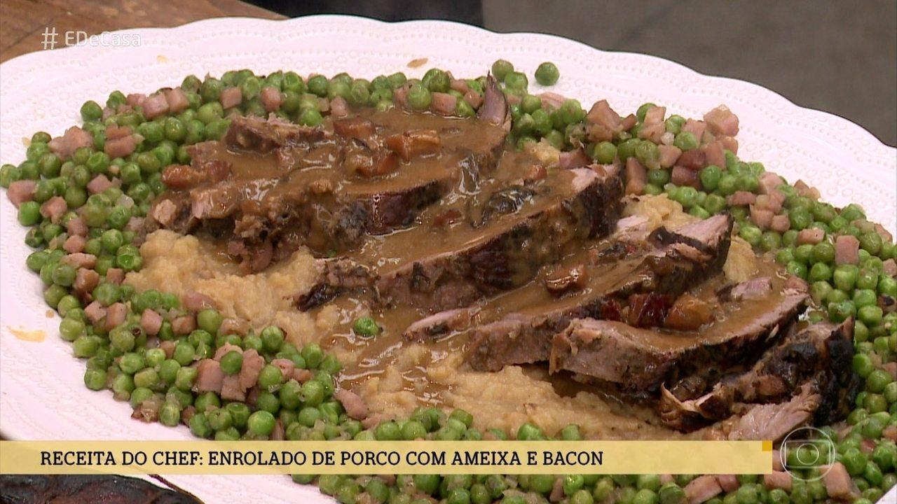 Receita do Chef: Enrolado de Porco com ameixa e bacon