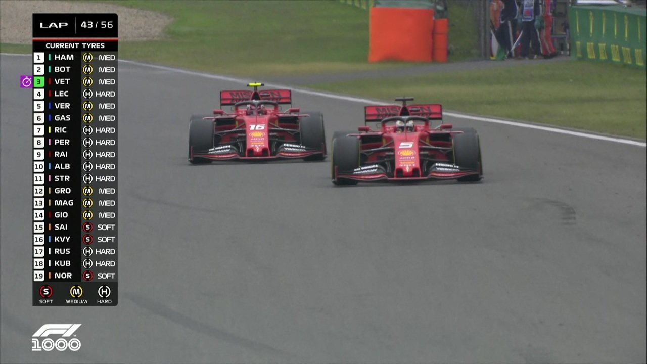 Vettel passa Leclerc e vai para os boxes