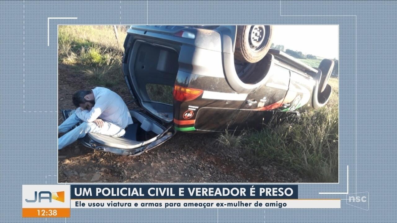 Vereador que é policial civil capota viatura e é preso por ameaçar mulher no Oeste