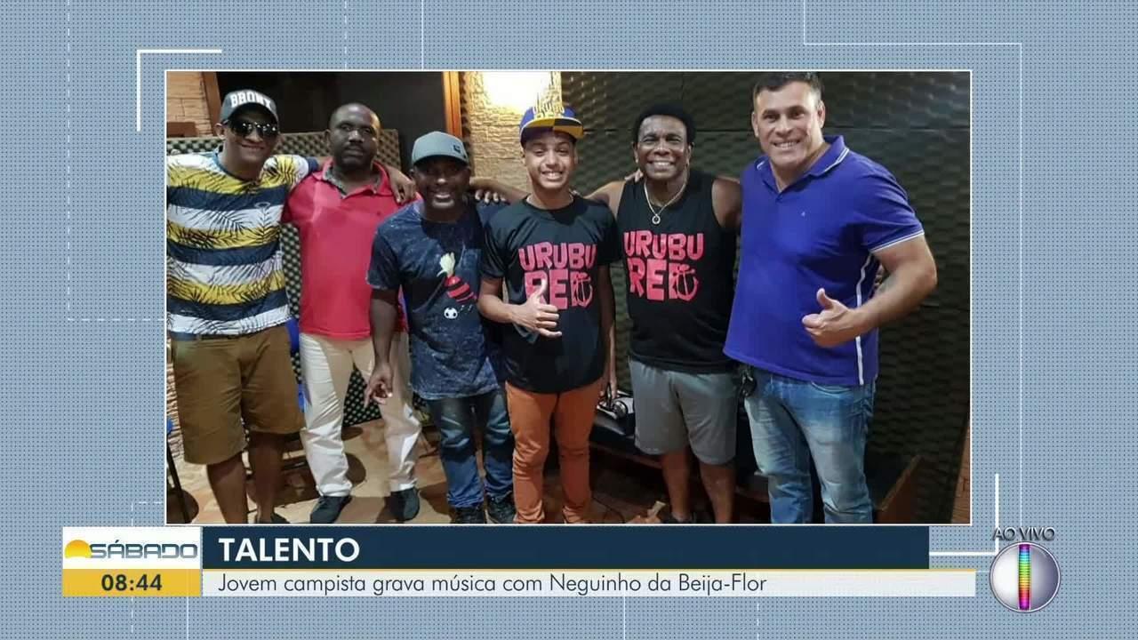 Jovem campista grava música com Neguinho da Beija-Flor