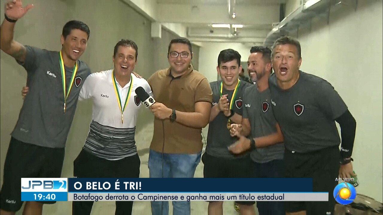 Lucas Barros entrevista ao vivo a comissão técnica do Botafogo-PB ainda nos vestiários do Almeidão para o JPB2