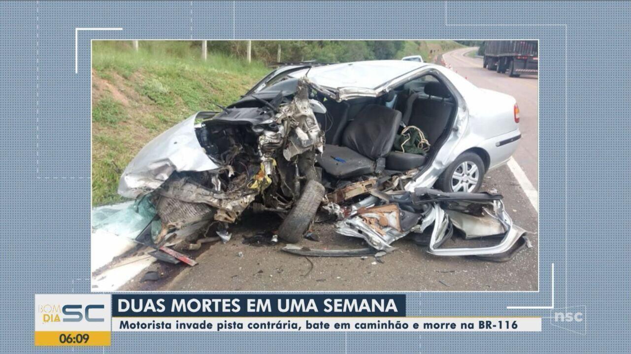 Homem morre após carro e caminhão colidirem na Serra catarinense