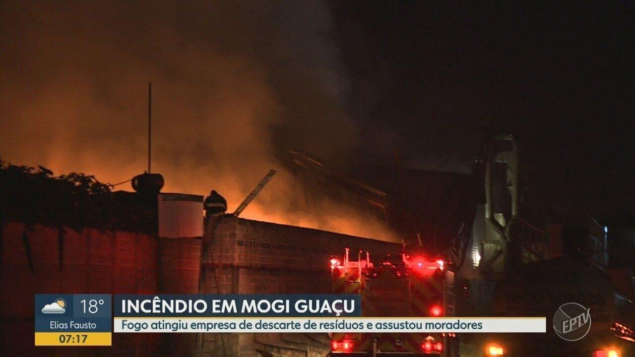 Incêndio atinge empresa de descarte de resíduos em Mogi Guaçu