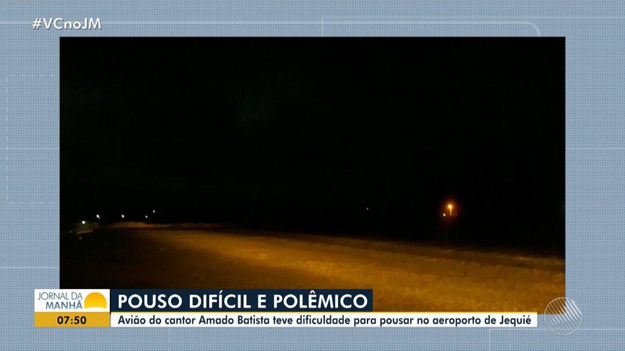 Aeroporto é adaptado para receber pouso noturno com o cantor Amado Batista