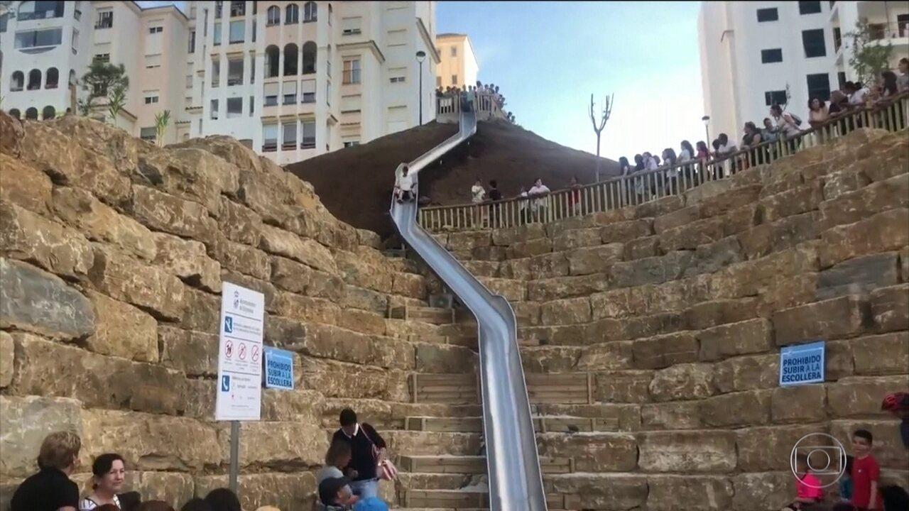 Prefeitura de cidade espanhola instala tobogã como atalho para escadas