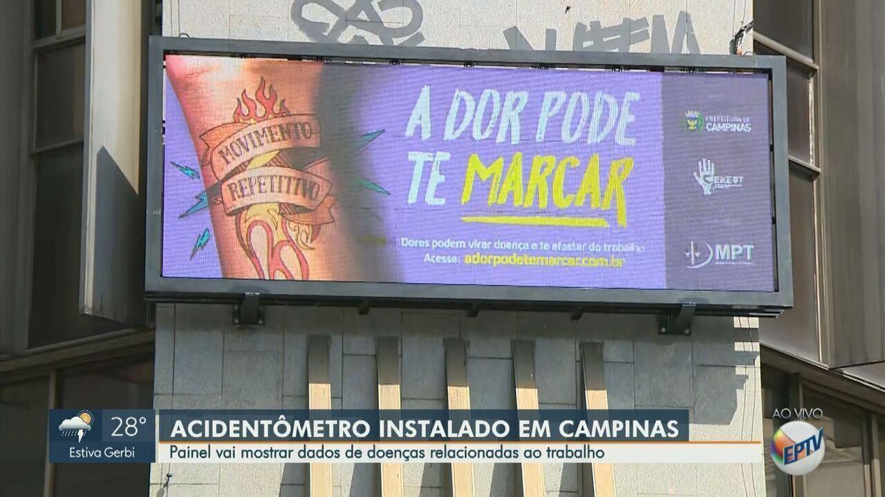 Painel 'Acidentômetro do Trabalho' é instalado durante campanha em Campinas