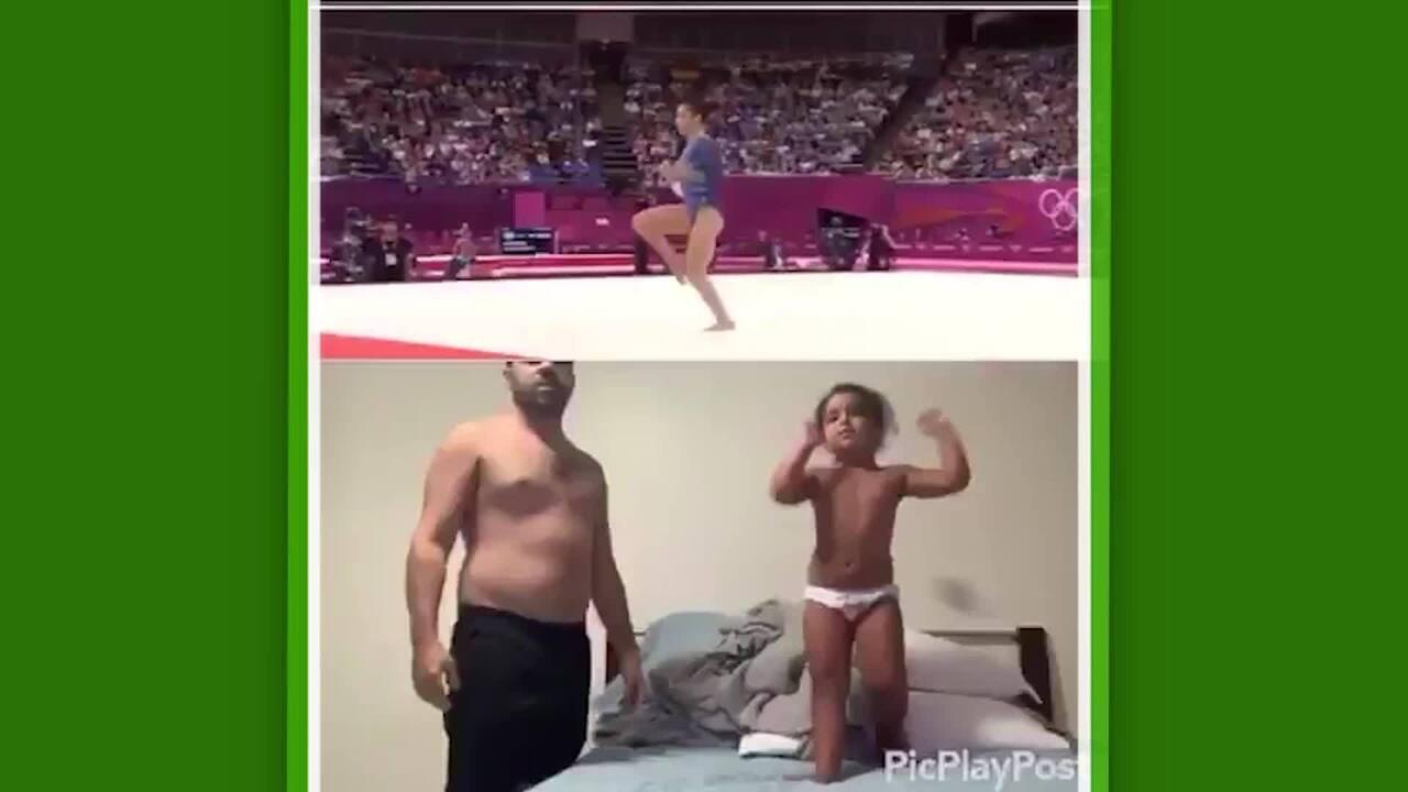 Menina imita apresentação de campeã olímpica da ginástica e vídeo viraliza