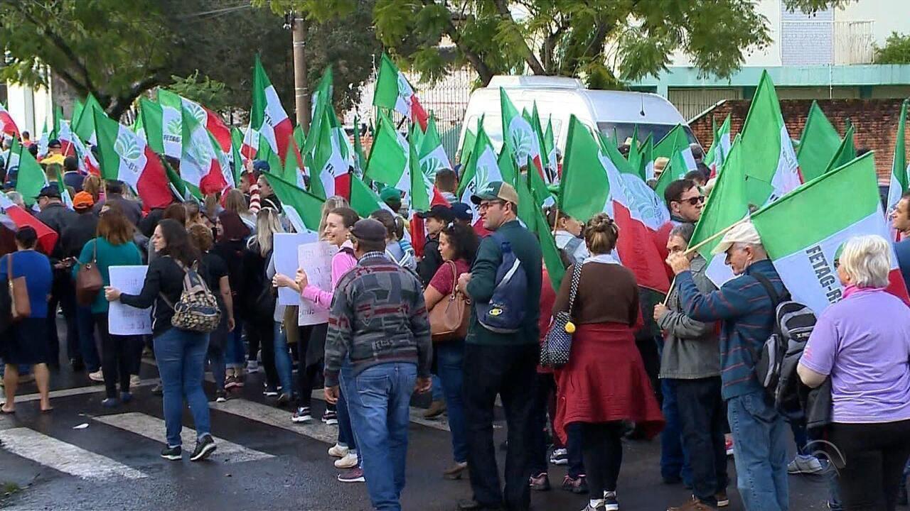 Produtores rurais protestaram contra a reforma da Previdência em Santa Cruz do Sul