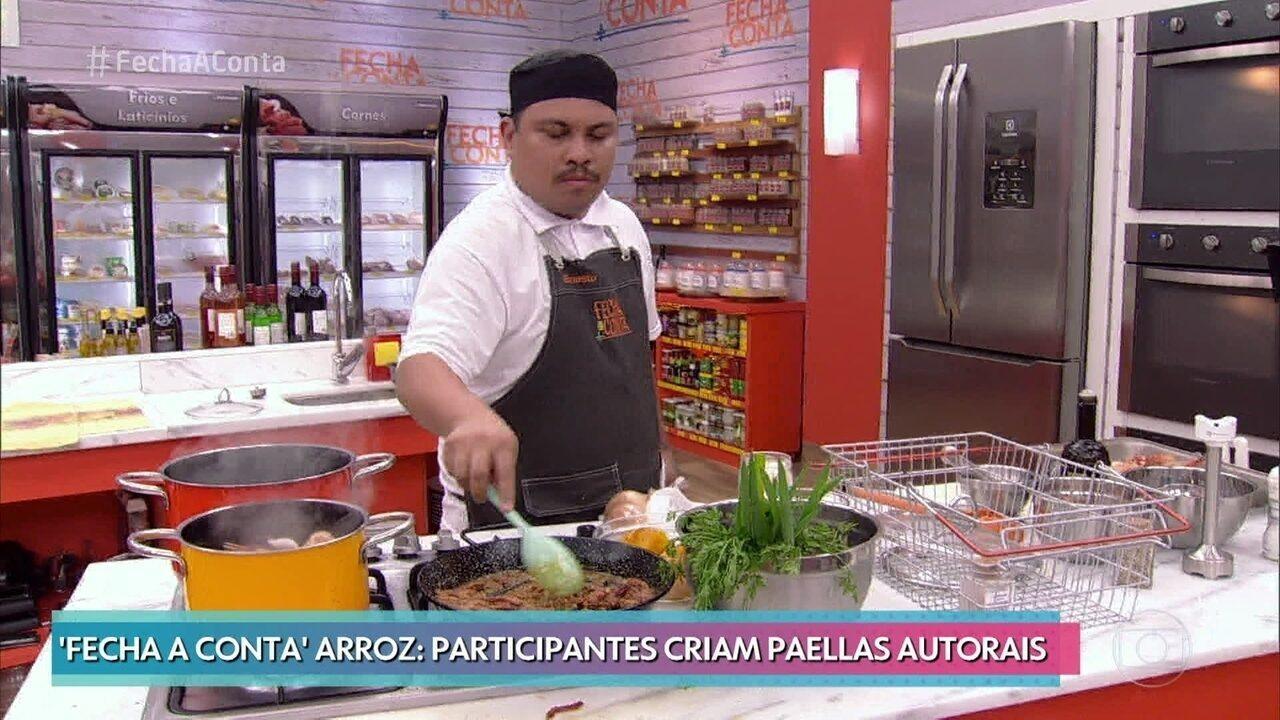 Chefs preparam paella autorais na semifinal do 'Fecha a Conta Arroz'