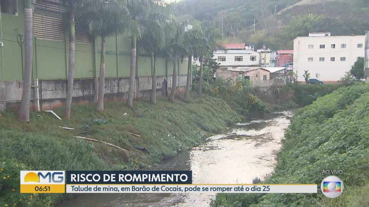 Rio São João, em Barão de Cocais, será atingido por rejeitos se barragem da Vale se romper