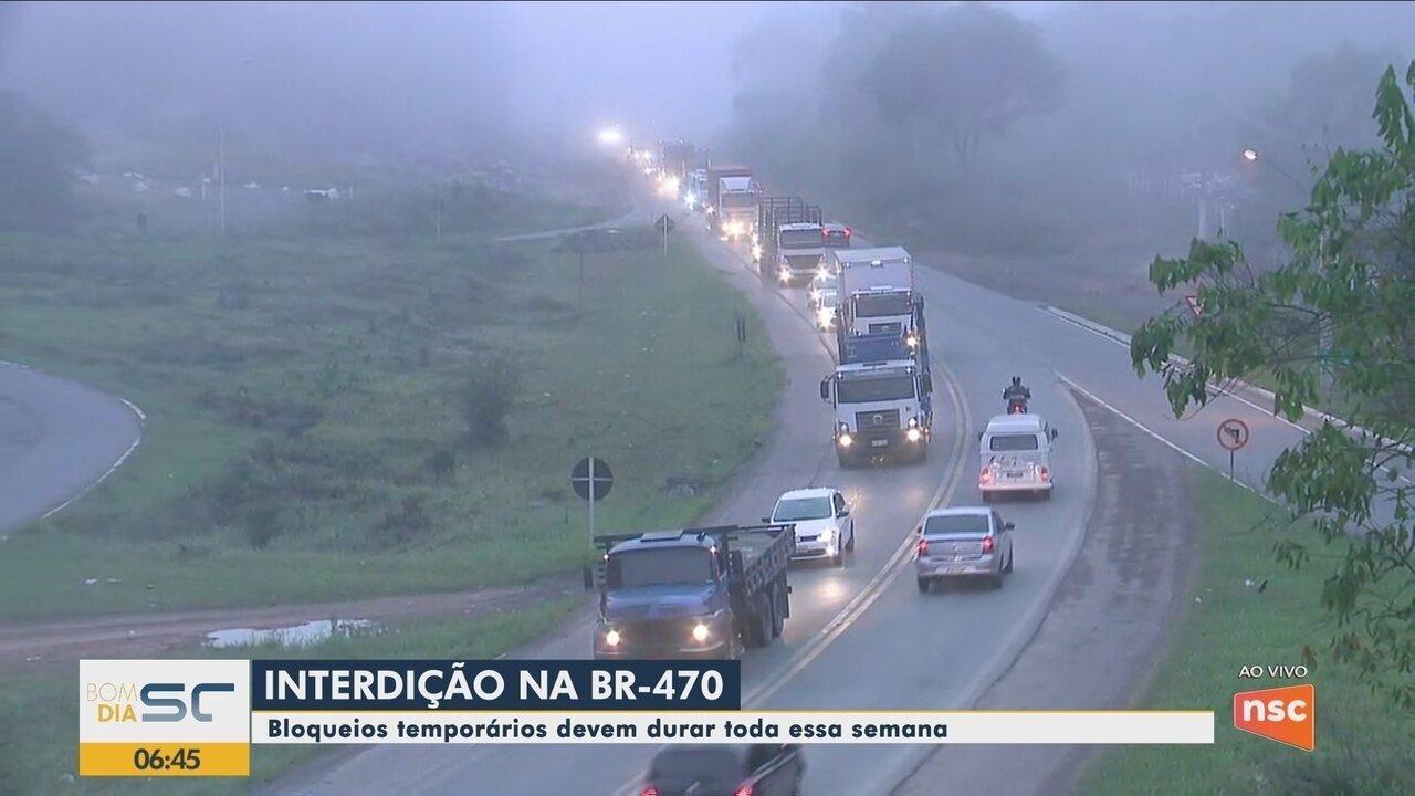 BR-470, no Vale do Itajaí, será interditada para obras de duplicação durante a semana