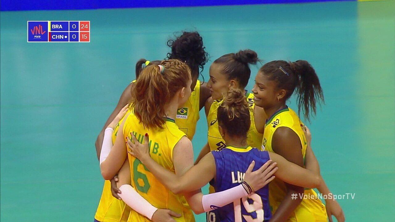 Melhores momentos: Brasil 3 x 0 China pela Liga das Nações de Vôlei Feminino